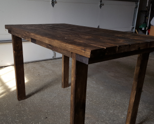 Basic Style Dining Room Table (4 Ft. Long) (Dark Walnut Stained)