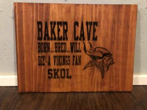 Baker Cave! Man Cave Custom Engraved Sports Vikings Sign