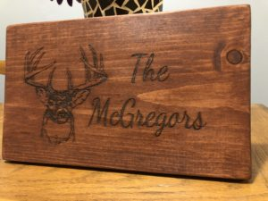 Medium Sized Deer Head Buck Head American Walnut Stained Family Name Wood Sign