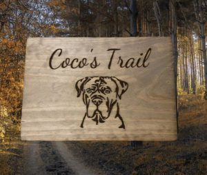 """CoCo's Trail"" Custom Dog Country Sign"