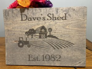 (Your Name) Shed – Established Date Farm Sign Customized